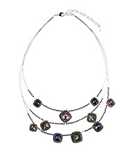 Napier® Silvertone Purple and Pink Illusion Necklace