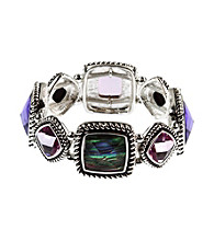 Napier® Silvertone Purple and Shell Stretch Bracelet