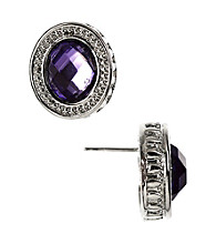 Napier® Silvertone Purple Button Stud Earrings