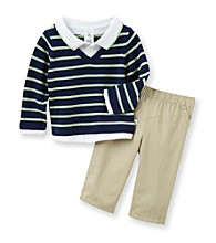 Cuddle Bear® Baby Boys' Cool Green/Navy 2-pc. Striped Polo Sweater Set