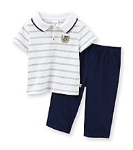 Cuddle Bear® Baby Boys' White/Grey 2-pc. Short Sleeve Polo Set