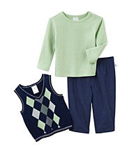 Cuddle Bear® Baby Boys' Cool Green/Navy 3-pc. Sweater Vest Set