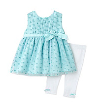 Cuddle Bear® Baby Girls' Aqua 2-pc. Heart Mesh Tunic and Leggings Set