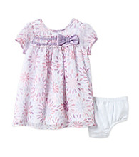 Cuddle Bear® Baby Girls' Pink/Purple 2-pc. Floral Ruffle Yoke Dress Set