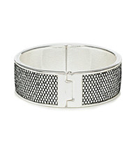 Betsey Johnson® Silvertone Pave Inlay Hinged Bangle Bracelet