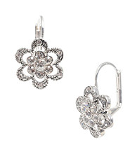 Betsey Johnson® Silvertone Mini Pave Flower Drop Earrings
