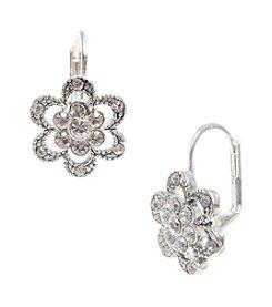 Betsey Johnson® Silvertone Mini Pave Flower Drop Earrings