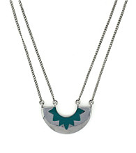 BCBGeneration™ Polished Silvertone and Turquoise Pendant Necklace