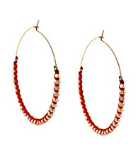 BCBGeneration™ Polished Rose Goldtone and Orange Beaded Hoop Earrings