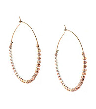 BCBGeneration™ Polished Rose Goldtone and White Beaded Hoop Earrings