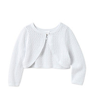 Cuddle Bear® Baby Girls' White Pointelle Sweater