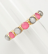Erica Lyons® Goldtone Grey And Pink Stretch Bracelet