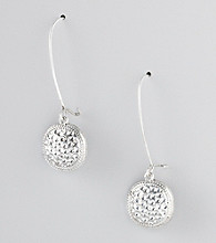 Erica Lyons® Silvertone Drop Pierced Earrings