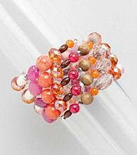 Erica Lyons® Warm Multi Color Block Coil Bracelet