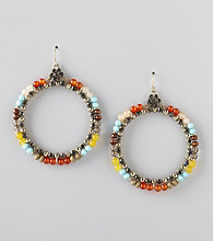 Erica Lyons® Cool Multi Colorblock Drop Pierced Earrings