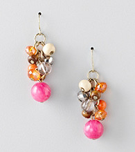 Erica Lyons® Warm Multi Colorblock Drop Pierced Earrings
