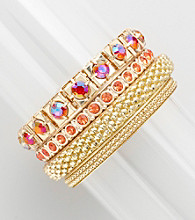 Erica Lyons® Pink and Goldtone Arms Length Bangle Bracelet Stack