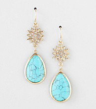 Lauren Ralph Lauren 14K Gold Plated Turquoise Crystal Star Drop Earrings