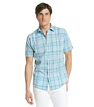 John Bartlett Consensus Men's Blue Bubbles Short Sleeve Madras