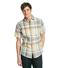 John Bartlett Consensus Men's Atom Orange Short Sleeve Seersucker Woven Shirt
