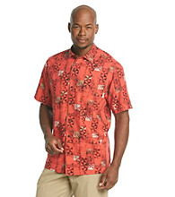 Paradise Collectio® Men's Captain Rose Short Sleeve Silk Woven Aztec Print Shirt