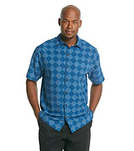 Paradise Collection® Men's Poolside Blue Short Sleeve Silk Woven Diamond Geo Print Shirt