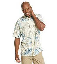 ParadiseCollection® Men's Basic Cream Short Sleeve Silk Woven Tropical Scroll Print Shirt