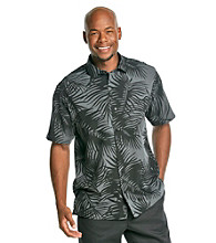 Paradise Collection® Men's Black Short Sleeve Silk Woven Tonal Leaf Print Shirt
