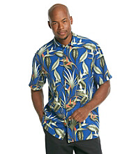 Paradise Collection® Men's Glacial Sapphire Short Sleeve Silk Woven Bird of Paradise Print Shirt