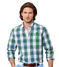 Nautica® Men's Parrot Green Plaid Long Sleeve Poplin Woven