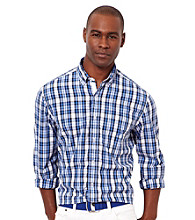 Nautica® Men's French Blue Plaid Long Sleeve Woven