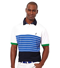 Nautica® Men's Bright White Stripe Short Sleeve Polo
