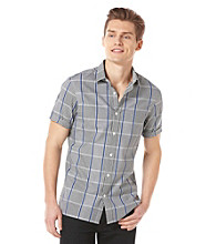 Perry Ellis® Men's Coastal Blue Short Sleeve Large Gingham Plaid Woven