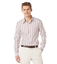 Perry Ellis® Men's Bright White Long Sleeve Multi-Stripe Woven