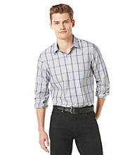 Perry Ellis® Men's Bright White Long Sleeve Dot Plaid Woven