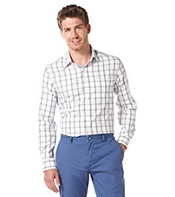 Perry Ellis® Men's Azzuro Long Sleeve Windowpane Plaid Woven