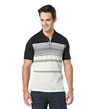 Perry Ellis® Men's Helium Short Sleeve Slub Stripe V-Neck Polo