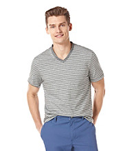 Perry Ellis® Men's Black Short Sleeve Stripe V-Neck Tee