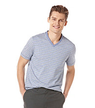 Perry Ellis® Men's Coastal Blue Short Sleeve Stripe V-Neck Tee