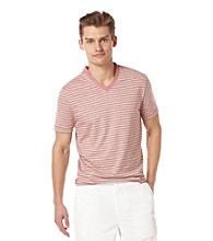Perry Ellis® Men's Bright White Short Sleeve Stripe V-Neck Tee