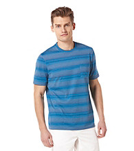 Perry Ellis® Men's Striped Coastal Blue Short Sleeve Crewneck Tee