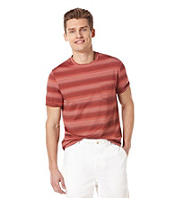 Perry Ellis® Men's Striped Bright Coral Short Sleeve Crewneck Tee