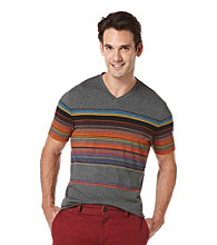 Perry Ellis® Men's Deep Iron Heather Crossover Stripe V-Neck Tee