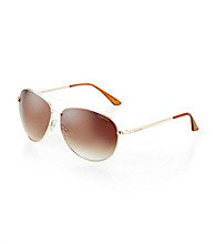Calvin Klein® Men's Shiny Gold Aviator Sunglasses