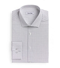 Calvin Klein® Men's Grey Grid Point Slim-Fit Long Sleeve Dress Shirt