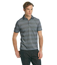 DKNY JEANS® Men's Black Stripe Two-Tone Pique Polo