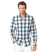 Calvin Klein Jeans® Men's Raw Blue Chroma Plaid Long Sleeve Button Down Shirt