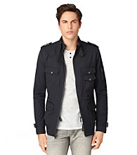 Calvin Klein Jeans® Men's Dark Navy Coated Twill Military Zip-Up