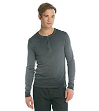 Guess® Men's Jet Black Rib Henley Shirt