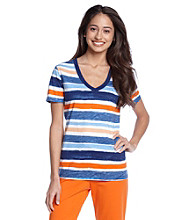 Relativity® Screenprint Short Sleeve Knit Top - Paint Stripe
